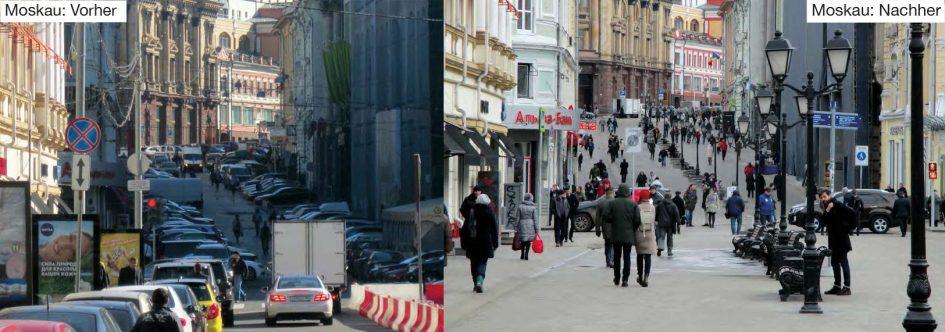 Verkehrsberuhigung Moskau (Fotos: Gehl)