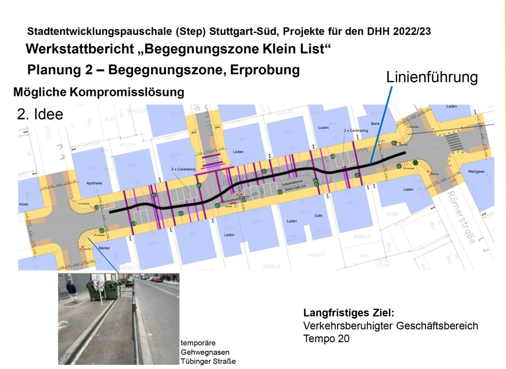 Planung Verkehrsversuch Klein List
